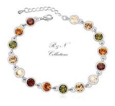 Platinum Plated Multicolour Made With Swarovski Crystal Chain Bracelet (B465-27)