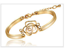 Gold Retro Hollow Camellia Rose Flower Zircon Bangle Bracelet Chain Gift Box E20
