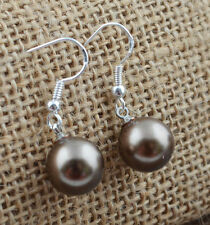 Beautiful New Silver Fashion Jewelry Bronze Pewter Pearl Dangle Drop Earrings