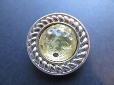 1980's Vintage Big Silver Metal Light Yellow Coat Jacket Collectible Button-32mm