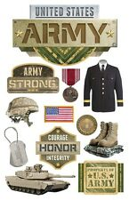 PAPER HOUSE UNITED STATES US ARMY MILITARY DIMENSIONAL 3D SCRAPBOOK STICKERS