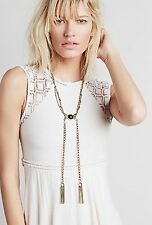 Free People Statement Stone Tassel Bolo Chain Fringe Necklace Rare NWT