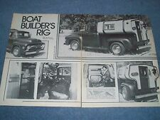 "1956 Ford F-100 Pickup Vintage Article ""Boat Builder's Rig"""