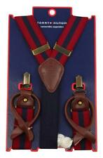 NEW MEN'S TOMMY HILFIGER VINTAGE LOOK CONVERTIBLE SUSPENDERS RED/NAVY 07-2044/94