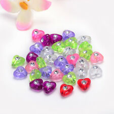 8mm 50pcs transparent mix color acrylic heart-shaped Charms fo SPACER Beads NEW