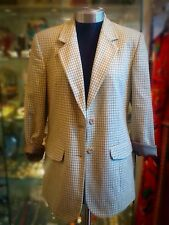 Vintage Solitaire 1970s Cream/Light Green Dogs-tooth Tailored Jacket UK M/L