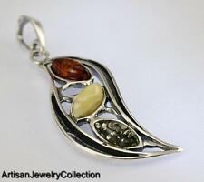 NATURAL BALTIC AMBER PENDANT 925 STERLING SILVER ARTISAN JEWELRY COLLECTION S018