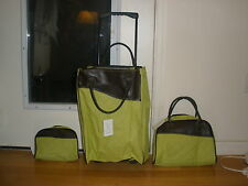 NEW 3PC LIME/BROWN TRAVEL/OVERNITE SUITCASE/BAGS SET WHEELED SCHOOL WORK PLAY