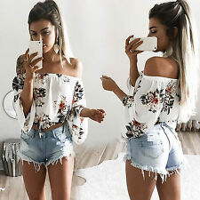 Womens Floral Off Shoulder Loose Beach Ladies Casual Summer T Shirt Tops Blouse