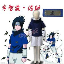 Cafiona Naruto Uchiha Sasuke Cosplay Costume Loose Blue Outfit Headband Children