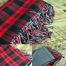 Womens Ladies Reversible Red Checkered Super Soft Brushed Acrylic Scarf/Shawl