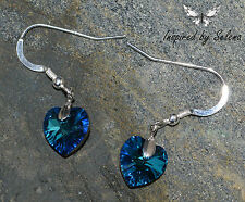 SWAROVSKI Crystal Bermuda Blue Earrings Sterling Silver Heart Love Gift Wedding