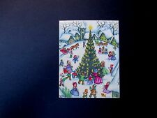 #L203- Vintage Rust Craft Xmas Greeting Card Victorian Town Square Holiday Tree