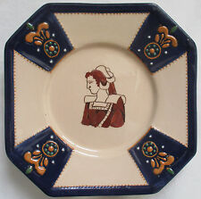 HB QUIMPER OCTAGON PLATE WITH BRETON WOMAN AND RAISED DESIGN