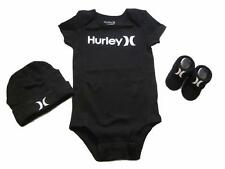 Hurley 3 Piece Infant Set Baby Boy Bodysuit Booties Beanie Black 0-6 Month