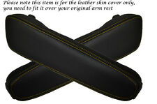 YELLOW STITCHING FITS BMW E34 E32 2X LEATHER ARMREST SKIN COVERS ONLY