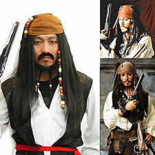 Pirates of the Caribbean Jack Sparrow Wig Headband Costume Cosplay Set