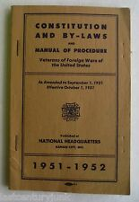 Constitution And By-Laws & Manual Of Procedures Veterans Of Foriegn Wars 1951/52