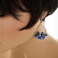 SIMPLY VERA WANG Silver Tone DANGLE EARRING Checkerboard BLUE BEADS Faux CRYSTAL