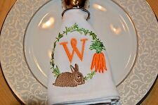 Personalized Easter Cloth Napkin Bunny & Carrot Your Initial Embroidered
