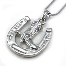 Horseshoe Cowboy Boots Pendant Necklace Lucky Western Cowgirl Charm Ladies  n118