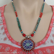 NL-139 Nepali Handmade Tibetan Ethnic Lapis Coral Beads and White Metal Necklace
