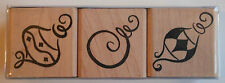 Set of 3 Christmas Ornaments Rubber Stamps - Wood Mounted