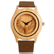 Nature Wood Deer Head Bamboo Genuine Leather Strap Men Women Quartz Wrist Watch