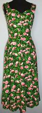 VTG Hannah Troy Boussac French Cotton Sleeveless Summer Sun Dress Fit n Flare S