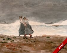 GIRLS IN DANGER ON THE COAST PAINTING ART REAL CANVAS GICLEE PRINT WINSLOW HOMER