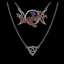 ALCHEMY GOTHIC WICCAN GODDESS OF LOVE PEWTER PENDANT. SWAROVSKI CRYSTALS.