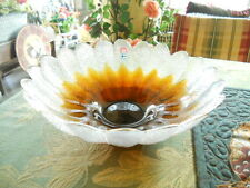 Vintage Humppila Finland Gold Amber & Clear Bowl w/Sticker Leaf Design