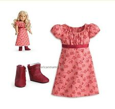 American Girl CAROLINE TRAVEL OUTFIT for Dolls Dress Red Boots NEW
