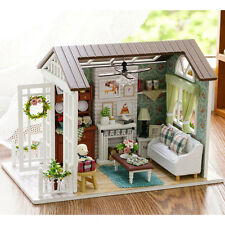 Mini Wooden Dollhouse Happy Times Doll House LED Music Lights Furniture Kits DIY