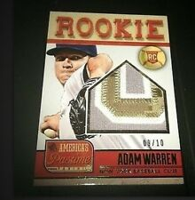 2013 PANINI AMERICA'S PASTIME ADAM WARREN RC GU PATCH YANKEES 9/10 SP NICE