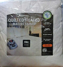 HEATED MATTRESS PAD WHITE QUILTED FULL BED SIZE BIDDEFORD DEEP POCKETS up to 22""