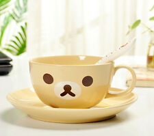 Super Cute Rilakkuma San-X Bear Tea Coffee Milk Cup + Saucer + Spoon Set 350ML