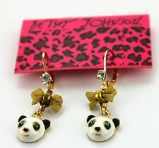 NEW Drip Betsey Johnson Women Cartoon Bow Panda Crystal Charm Gem Earring BEA084