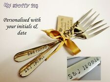 2 Personalised Initials & Date Hand Stamped Wedding or Celebration Cake Forks