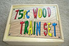 75  PIECE  WOOD  TRAIN  SET  NEW  STORED  IN WOOD  BOX