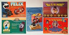 Fossil Watch Advertising Cards Lot 0f 5 ~ Felix  Popeye  Batman  Spiderman  1994