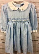 Luli & Me Girls Blue With Embroidered Flowers Ribbon Smocked Dress Size 2T A3