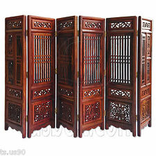 Rosewood Wood Chinese Pattern Folding Screen Divider 1:6 Scale Doll's Furniture