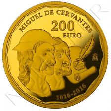ESPAÑA 200 euro oro 2016  proof MIGUEL DE CERVANTES - 4 escudos spain gold