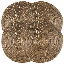 Set of 4 Placemats Large Round Rattan Bamboo Serving Mats Dining Table Settings