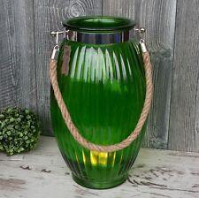 XL Windlicht Glas grün maritim mit Kordel 38cm groß Laterne Garten Deko Vase NEU