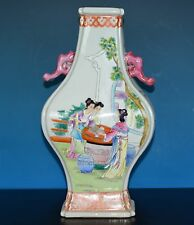 STUNNING ANTIQUE CHINESE FAMILLE ROSE PORCELAIN VASE MARKED JIAQING RARE Y1083