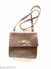 ITALIAN BROWN LEATHER SHOULDER-BAG PURSE w/NARROW BRAIDED LEATHER STRAP