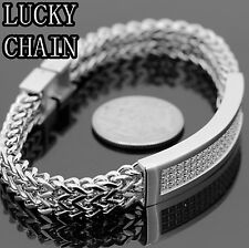 """STAINLESS STEEL ICED OUT LAB DIAMOND HIPHOP BRACELET/8.6""""x 12mm/48g/IB4"""