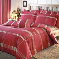 Rustic Red Cream Big Check Stripe SUPER KINGSIZE Duvet Set NEW Matching Items